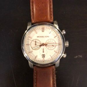 Men's Leather Michael Kors Watch